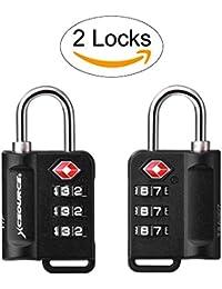 XCSOURCE TSA Bloqueos 2 Paquetes Con indicador de alerta abierta Maleta Bloqueo de equipaje Bolsa de viaje Candado de seguridad combinado de 3 dígitos XC402