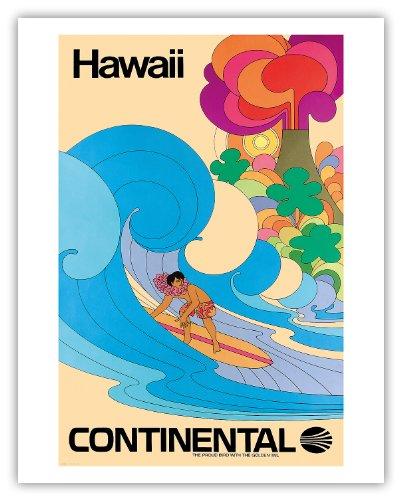 hawa-continental-airlines-surfer-hawaen-psychdlique-de-flower-power-art-affiche-de-voyage-de-cru-vin