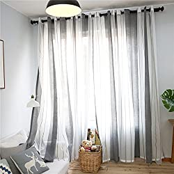 Top Finel Cortinas Rayas Translúcidas netas Visillos Paneles para Ventanas niños Habitaciones Gasa con Blanco de Ojales,140 Anchura x 240cm Longitud 1 par Gris