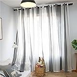 Top Finel 2er Set Transparent Grau-Weiß-Streifen Voile Gardinen mit Ösen Dekoration Vorhänge Für Kinderzimmer,140x240cm