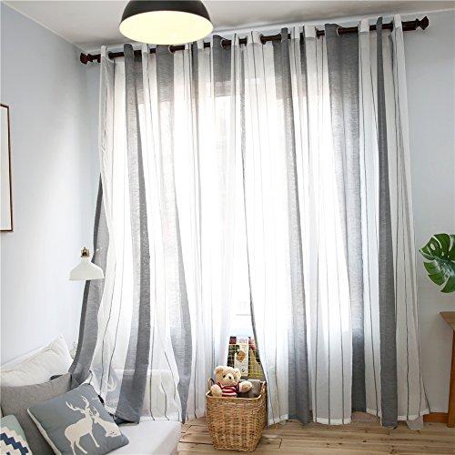 Top finel tende voile trasparente occhielli con strisce decorativi finestra balcone casa 140x240cm grigio 2 pezzi