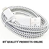 High Quality 3M Extra Long WHITE Braided Strong 8 Pin Lightning USB Charger charging Data & Sync Cable Lead Wire for Apple iPhone 6 / 6S / 6 plus / 6+ / 5 5s 5G / New iPod Touch 5G / Nano 7G / ipad Air - UK SELLER 100% Premium Quality by Quality Products Online