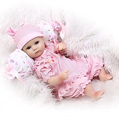 NPKDOLL Reborn Baby Doll Soft Simulation Silicone Vinyl 18inch 45cm Magnetic Mouth Lifelike Cute Children Toy Red White Pillow with Acrylic Eyes