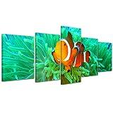 Bilderdepot24 Kunstdruck - Clownfisch - Bild auf Leinwand - 200x80 cm 5 teilig - Leinwandbilder - Bilder als Leinwanddruck - Wandbild Tierwelten - Leben im Meer - Anemonenfisch in der Südsee