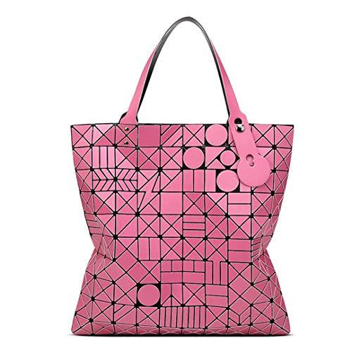 Frauen Schulter Taschen Casual Tote GroßE KapazitäT Geometrische Luxus Designer Handtasche Hot Pink