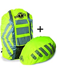 Set de funda impermeable para mochila de alta visibilidad y funda para casco impermeable altamente reflectante
