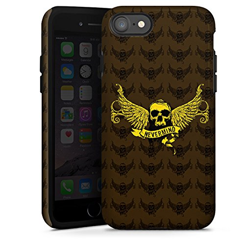 Apple iPhone X Silikon Hülle Case Schutzhülle Gold Skull Nevermind Tough Case glänzend