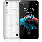 Homtom HT16 - Smartphone Libre 3G de 5.0''HD ( Android 6.0, 5.0MP+2.0MP cámaras, 8GB ROM+ 1GB RAM, MTK6580 quad-core 1.3GHZ) blanco