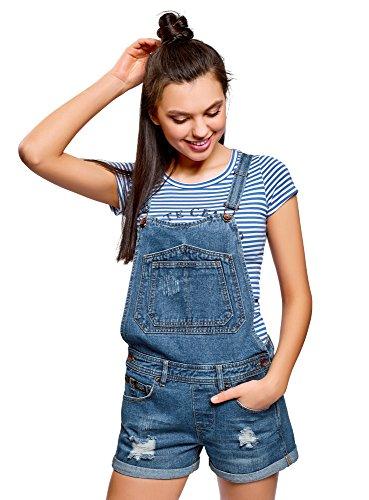 oodji Ultra Damen Kurze Jeans-Latzhose mit Rissen, Blau, DE 42/EU 44/XL