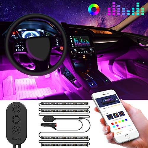 Striscia LED Auto con APP, Govee LED Auto Interni 48 LEDs, Musica Attivata dal Microfono Vari Colori Controllo APP per Decorare Auto