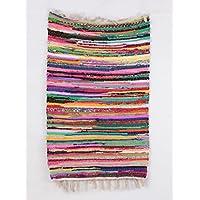 Cotone, 2'x3' piedi tappetino da yoga intrecciato a mano a mano blocco stampato Dhurrie Chandi Tappeto