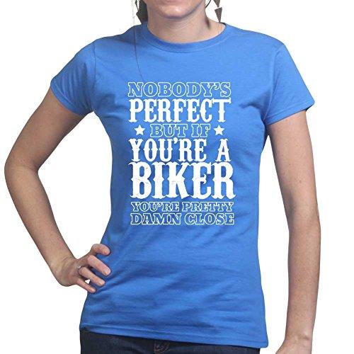 Niemand ist perfekt Vintage Bikers Motorrad Ladies T shirt Königsblau