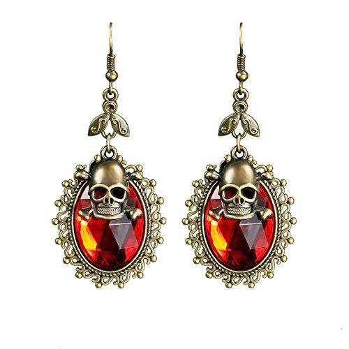 EQLEF® Vintage Gotico cranio orecchini con strass rosso per Halloween promenade del partito