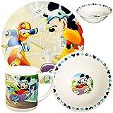 Unbekannt 3 TLG. Geschirrset -  Disney - Mickey Mouse & Donald Duck  - Porzellan / Keramik - Trinktasse + Teller + Müslischale - Kindergeschirr - Frühstücksset für Ki..