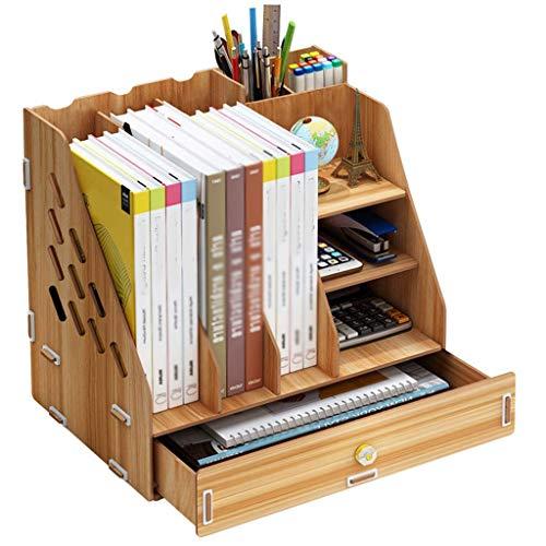 JHHXW Aktenständer Aktenhalter Office Document Storage Box Mehrschichtige hölzerne Student Book Stand Storage Rack,A -