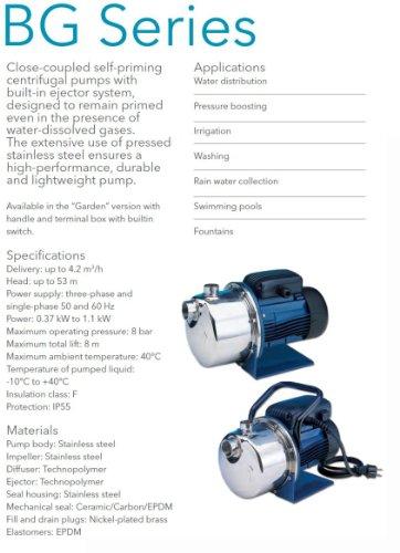 LOWARA BGM7 HP Selbstansaugende horizontale Kreiselpumpe 1.00 / 0.75 KW - 1x 230V - 3