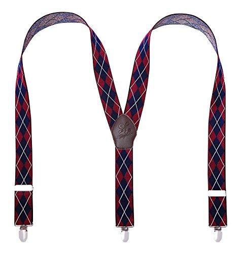 Panegy - Tirantes Elástico Para Hombre Y Forma con 3 Clips Fuerte Adjustable Para Pantalones Traje Hombre Tirantes de Cuadros Clásico Elegante - Rojo-1