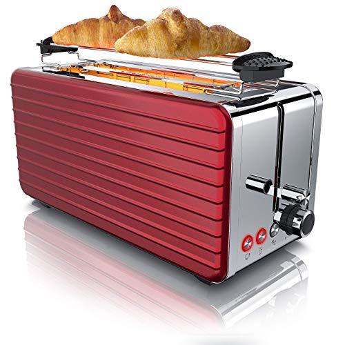 Arendo - Automatik Toaster Langschlitz 4 Scheiben - Defrost Funktion - wärmeisolierendes Gehäuse - abnehmbarer Brötchenaufsatz - 1500W - herausziehbare Krümelschublade - Arendo DESAYUNO