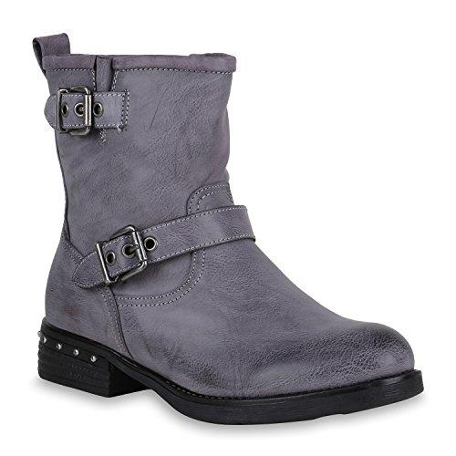 Damen Schuhe Biker Boots Leicht Gefütterte Stiefel Stiefeletten Schnallen 147543 Blau Nieten 39 Flandell