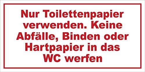 Preisvergleich Produktbild INDIGOS UG - Nur Toilettenpapier verwenden. Keine Abfälle Hinweisschild,  selbstklebend,  20x10 cm