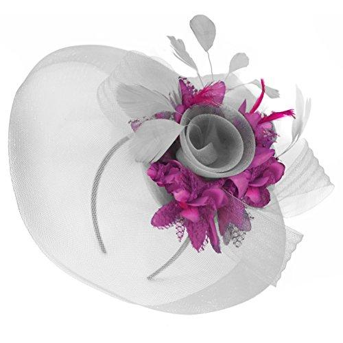 368fed5b602cf Feather Flower Fascinator Hat Veil Net Headband Clip Ascot Derby Races  Wedding (Silver and Fuchsia Hot Pink)