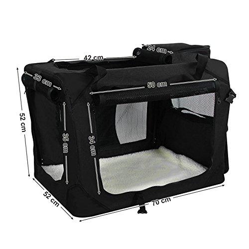 Songmics Faltbare  Oxford Gewebe Hundebox Katzenbox Hundetransportbox – L 70x52x52cm Schwarz PDC70H - 3