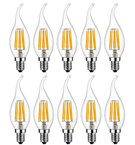 MENTA Bombillas Vela de Filamento Flame LED E14 6W equivalente a 60W Blanco Cálido 2700K 600LM Casquillo Fino E14 SES No regulable Vidrio 10 Unidades