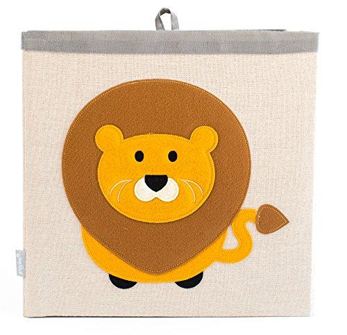 Grey Bee Aufbewahrungsboxen für Kinderzimmer mit Tiermotiven aus Leinenmaterial, Gelber Löwe (Baby-schuh-box)