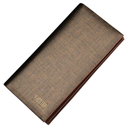 Oneworld Herren Rindleder Geldbörse Börse Geldbeutel Geldtasche Portemonnaie 9.5x18x2cm(BxHxT) Braun Braun