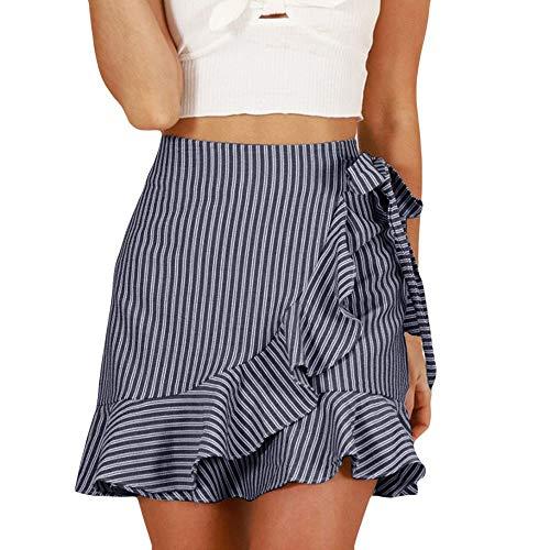 Damenrock,Frauen Sommer Hohe Taillen Streifenverband Art Und Weise MäDchen Reizvoller Einheitlicher Minikleid,ALISIAM Gestreifter Rock mit Rüschen