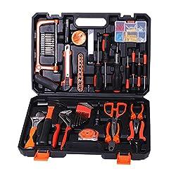 Birtech Werkzeugkoffer Haushaltskoffer Werkzeugset Werkzeugbox für den Haushalt, die Garage ,102 teilig