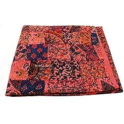 Hecho a mano Tribal de Textiles de matrimonio algodón colcha Kantha colcha con bordado Kantha indio de funda de edredón Reversible manta de funda de edredón con diseño de 25