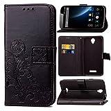 Guran® PU Ledertasche Case für Doogee X6 / X6 Pro Smartphone Flip Cover Brieftasche & Stent Funktionen Hülle Glücksklee Muster Design Schutzhülle - Schwarz