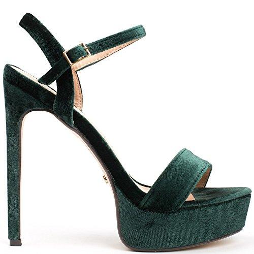 Ideal Shoes Sandales Effet Velours Helena Vert