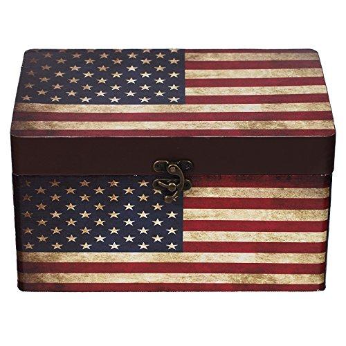 Truhe Kiste 11A6028 USA, Holztruhe mit Canvas bezogen im Vintage Look, Schatzkiste,Kiste, Piratenkiste, Kleinmöbel, Mit Metallbeschlägen, Antikoptik, Holz, verschieden Größen, Maritim, Deko, Hochwertig, Kolonialtruhe, Kolonialstil, Holzbox, Truhe mit Ornamenten . (Größe M 22cm x 12cm x 12cm)