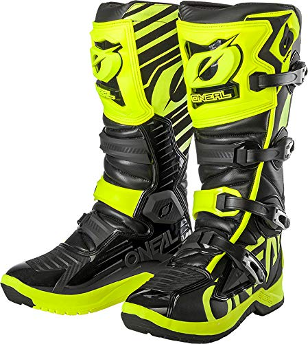 O'Neal RMX Boot Motocross MX Stiefel Schuhe Motorrad Enduro Offroad Trail Cross Knöchel Schutz, 0333-4, Farbe Schwarz Neon Gelb, Größe 46