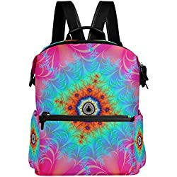 Mochila Escolar con Diseño de fractales de colores