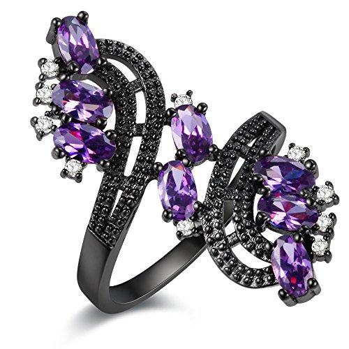 Uloveido Lila Blume Birthstone Ring Charms für Mädchen mit Amethyst Steinen Größe 52 (16.6) J656