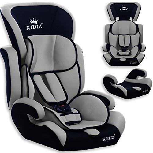 Kidiz® Autokindersitz Autositz Kinderautositz 9-36 kg Gruppe 1+2+3 Kindersitz , Farbe:Grau