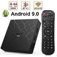 Android 9.0 TV Box con 4 GB di RAM 64 GB di ROM, HK1 max Tv Box Android Quad Core 64 bit Integrato BT 4.1 Dual-WiFi 2,4 GHz / 5 GHz, Supporto 4K (60 Hz) Full HD / 3D / H.265, USB 3.0 [Versione 2019]