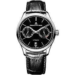 Automatikuhr Design, Angabe Gangreserve, Armband Leder, Saphirglas, Hohe Qualität