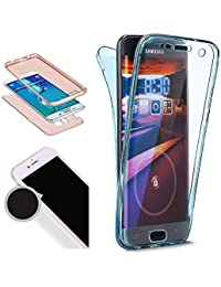 Nadoli 360 Grad Handyhülle für Galaxy J8 2018,Transparent Full-Body Weich Flexibel Einfarbig Farbe Blau Durchsichtig Schutzhülle für Samsung Galaxy J8 2018,Blau