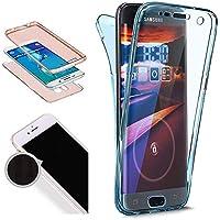 Nadoli 360 Grad Handyhülle für Galaxy A5 2016,Transparent Full-Body Weich Flexibel Einfarbig Farbe Blau Durchsichtig Schutzhülle für Samsung Galaxy A5 2016,Blau