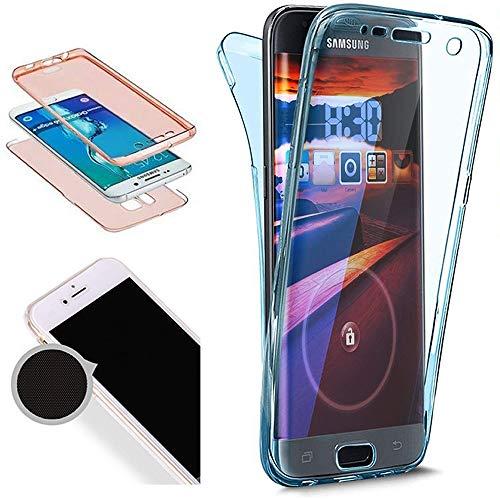 Nadoli 360 Grad Handyhülle für Galaxy S8 Plus,Transparent Full-Body Weich Flexibel Einfarbig Farbe Blau Durchsichtig Schutzhülle für Samsung Galaxy S8 Plus,Blau