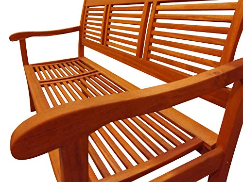 SAM® Garten-Bank Cordoba aus Akazie-Holz, FSC® 100% zertifiziert, 150 cm Breite, 3 Sitzer Holzbank, Balkon-Bank aus Akazien-Holz geölt, Garten-Möbel in braun, Massiv-Holz-Bank für Terrasse - 3