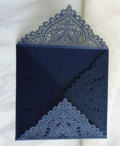 ZheQR Elfenbein Einladungspapier Royal Laser Cut Hochzeitskarte mit Umschlag Angebot Druck 50 Stück, Marine, ganze Reihe -