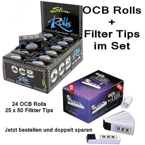 OCB Premium Rolls, 24 pcs in scatola di cartone + 25 confezione di cartine OCB di filtri