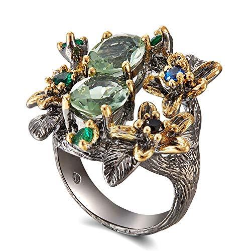 ZHOUYF RING Verlobungsringe Atemberaubende Cz Ringe Für Frauen Verlobungsfeier Vintage Blume Ring Blickfang Olivin Zirkon Schmuck, 7# - Vintage Stil Cz-verlobungsringe