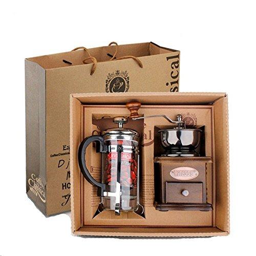 YULAN Grinder Press Cup Set Kaffeemühle Kaffeemühle Geschenk Set (Silber Druck Topf + Holz Grinder)