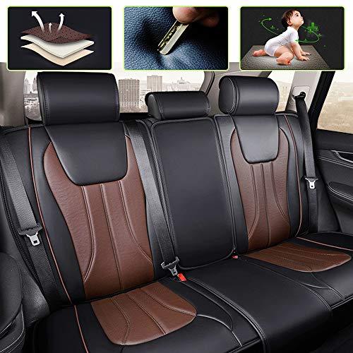 8X-SPEED Auto-Sitzbezüge für Cherokee Wrangler Patriot Campass Renegade SRT 5-Sitzer-Komplettsatz Atmungsaktiv Hochwertiges Leder Autoschonbezüge Schwarz Braun -